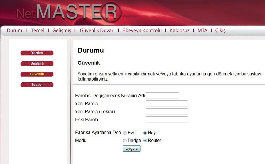 netmaster ebeveyn kontrolü